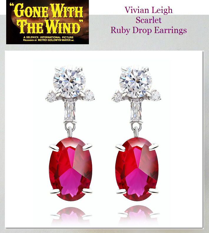 Gone With The Wind Ruby Red Earrings Vivian Leigh Hollywood Star Jewelry