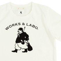 WORKS & LABO.(ワークス&ラボ)Monsieur Muziik Jardin オフホワイト(ロゴTシャツ)