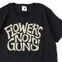 FLOWERS NOT GUNS!(フラワーズノットガンズ)サイケデリックロゴTシャツ|スミクロ×パールベージュ