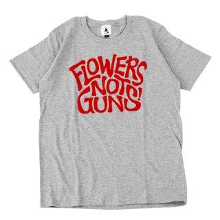 FLOWERS NOT GUNS!(フラワーズノットガンズ)サイケデリックロゴTシャツ|ヘザーグレー×レッド