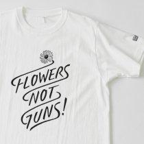 Suolo(スオーロ)FLOWERS NOT GUNS!(フラワーズノットガンズ)Tシャツ タイポグラフ(ホワイト)