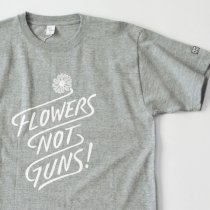 Suolo(スオーロ)FLOWERS NOT GUNS!(フラワーズノットガンズ)Tシャツ タイポグラフ(ヘザーグレー)