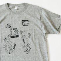 Suolo(スオーロ)FLOWERS NOT GUNS!(フラワーズノットガンズ)Tシャツ ドローイング(ヘザーグレー)