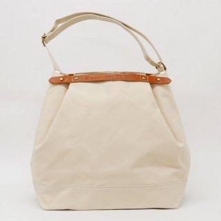 Suolo(スオーロ)CROP ホワイト×キャメルレザー(9号パラフィン帆布バッグ)