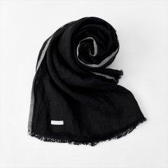 Fog linen work(フォグリネンワーク)トゥズ フリンジスカーフ ブラックヘリンボーン