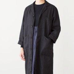 Fog linen work(フォグリネンワーク)マーラ ワークコート ブラック(リネン)