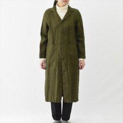 Fog linen work(フォグリネンワーク)マーラ ワークコート グリーンヘリンボーン(リネン)