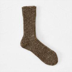 Fog linen work(フォグリネンワーク)ウールリネンソックス ブラウン(22〜25cm)
