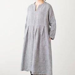 Fog linen work(フォグリネンワーク)リアナ ワンピース 白黒千鳥格子(リネン)