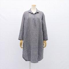 Fog linen work(フォグリネンワーク)ルチア ロングシャツ ブラックホワイトチェック(リネン)