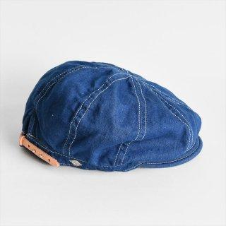 DECHO(デコー)BIKERS CAP ブルーデニム白ステッチ(綿80%麻20%)