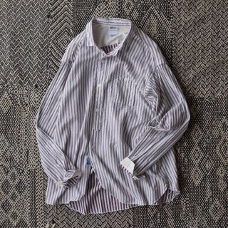 allinone(オールインワン)PERSONA shirt ブラウンストライプ