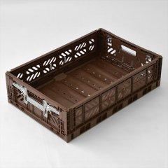 Ay-kasa(エーワイカーサ)マルチウェイボックス MAXI2-LOW(折りたたみコンテナ)コーヒー(ロックシステム浅型)