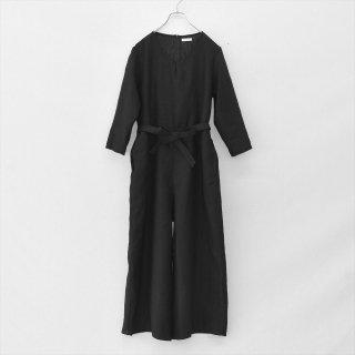 Fog linen work(フォグリネンワーク)ジュリエッタ ジャンプスーツ ブラック(普通地リネン)