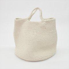 メキシコHandcrafted Modern from Mexican Artisans(ハンドクラフトモダン)かぎ針編みコットンストレージバッグ