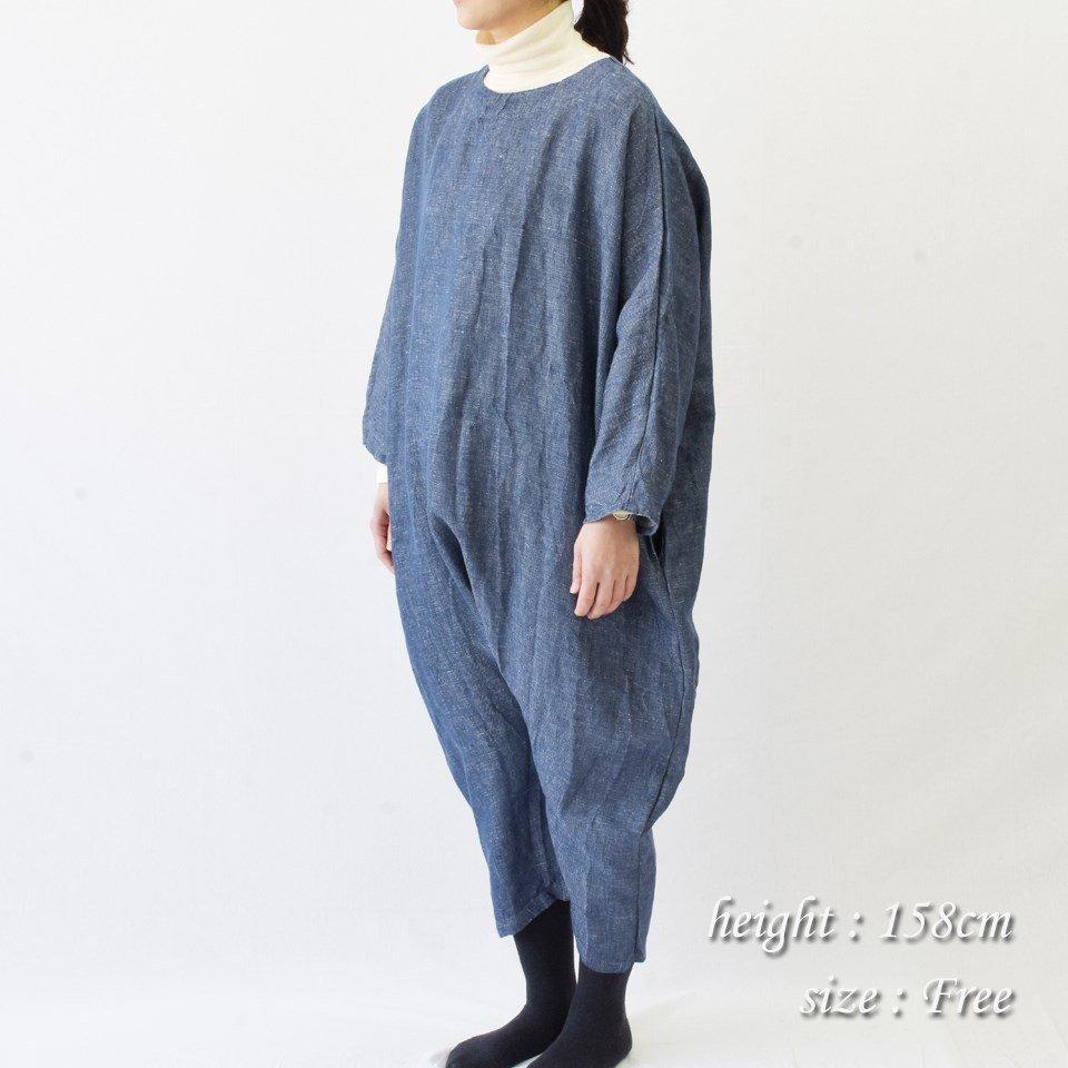 fog linen work(フォグリネンワーク)ナナ ジャンプスーツ(リネンデニム)