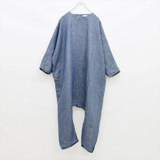 fog linen work(フォグリネンワーク)ナナ ジャンプスーツ ブルー(リネンデニム)