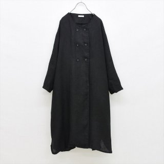 fog linen work(フォグリネンワーク)ピエリーナ コート ブラックヘリンボーン(普通地リネン)