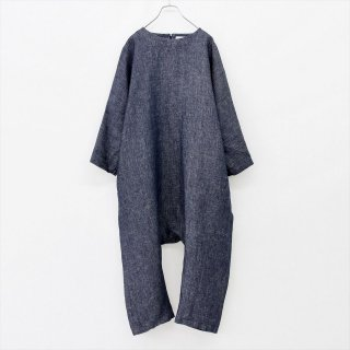 fog linen work(フォグリネンワーク)ナナ ジャンプスーツ ネイビー(リネンデニム)