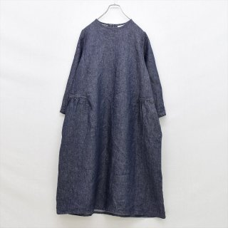 fog linen work(フォグリネンワーク)レベッカ ワンピース ネイビー(リネンデニム)