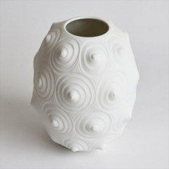 [60's Vintage] White Bisque Vase OP ART SPIRAL(西ドイツ)