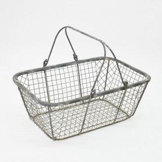 【中古品】可動式ハンドルワイヤーバスケット(グレー)W46 D29 H17cm