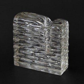 西ドイツWalther Glas(ワルサーグラス) OP ART(オプアート)ガラス製フラワーベース スクエア(1960〜70年代ヴィンテージ)