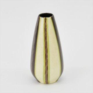[1950-60's Vintage] Sgraffito Flower Vase ダークブラウン×グリーン(ズグラッフィート, DDR 東ドイツ)