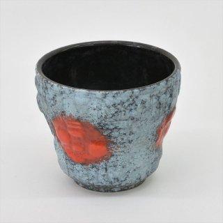 [1950's Vintage] Übelacker Keramik製 Fat Lava(ファットラヴァ)Flower Vase アイスブルー(西ドイツ)