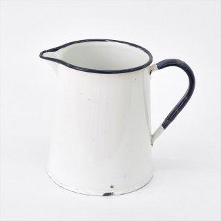 [ UK Vintage ] イギリスの古いエナメル(琺瑯)ジャグS ホワイト(ネイビーリム)