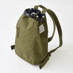 Suolo(スオーロ)NAPPASAC カーキ×ブラックレザー(9号パラフィン帆布バッグ)
