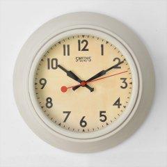 イギリスSmiths Clocks(スミスクロック)レトロウォールクロック(壁掛け時計)アイボリー