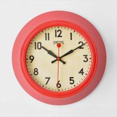 イギリスSmiths Clocks(スミスクロック)レトロウォールクロック(壁掛け時計)レッド