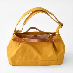 Suolo(スオーロ)CROP mini イエロー×キャメルレザー(9号パラフィン帆布バッグ)