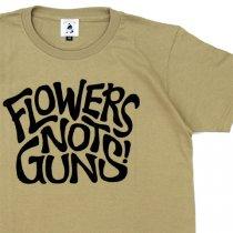 FLOWERS NOT GUNS!(フラワーズノットガンズ)サイケデリックロゴTシャツ|サンドカーキ
