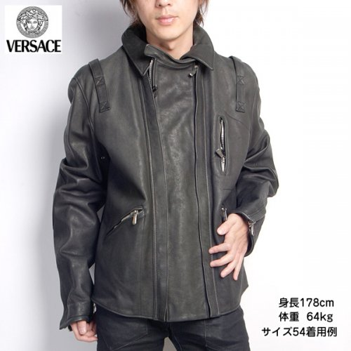 【送料無料】ジャンニヴェルサーチ(Versace)Versace メンズ レザージャケット36212 378 499ブラック 黒