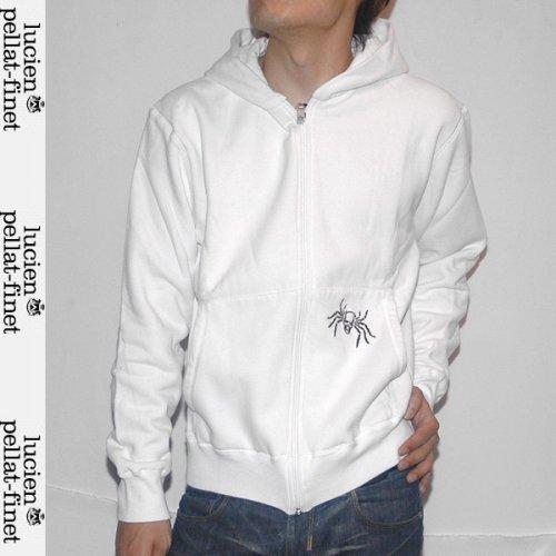 【送料無料】 ルシアンペラフィネ(lucien pellat-finet) メンズ フルジップ パーカスカル刺繍 EVH725 WHITE/BLACK ホワイト 白