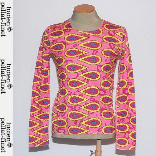 【送料無料】 ルシアンペラフィネ(lucien pellat-finet) レディース ロング Tシャツ 長袖 カットソー サイケデリック EVF799 GRACE ピンク