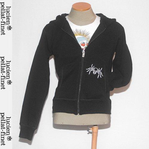 【送料無料】 ルシアンペラフィネ(lucien pellat-finet) レディース ジップアップ パーカ 長袖 スカル刺繍 EVF862 BLACK / WHITE ブラック/ ホワイト