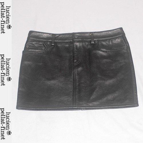 【送料無料】 ルシアンペラフィネ(lucien pellat-finet) レディース レザー ミニスカートショート丈 スカル LE02F BLACK ブラック 黒
