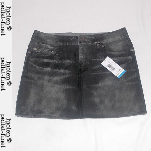 【送料無料】 ルシアンペラフィネ(lucien pellat-finet) レディース オイルコーティングミニスカート ショート丈 スカル DE34F BRUME BLACK COATING