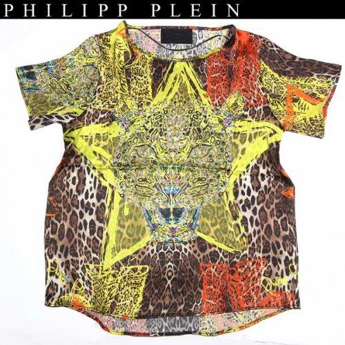 【送料無料】 フィリッププレイン(PHILIPP PLEIN) レディース レオパード シルク カットソー 半袖 Tシャツ