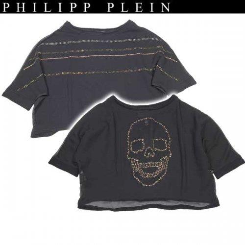 【送料無料】 フィリッププレイン(PHILIPP PLEIN) レディース ラインストーン スカル カットソー SS14 CW660060 02  14S