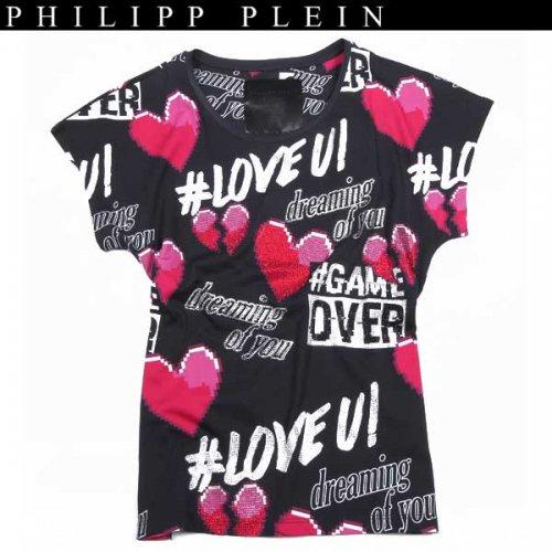 【送料無料】 フィリッププレイン(PHILIPP PLEIN) レディース ラインストーン 半袖 Tシャツ CW341040