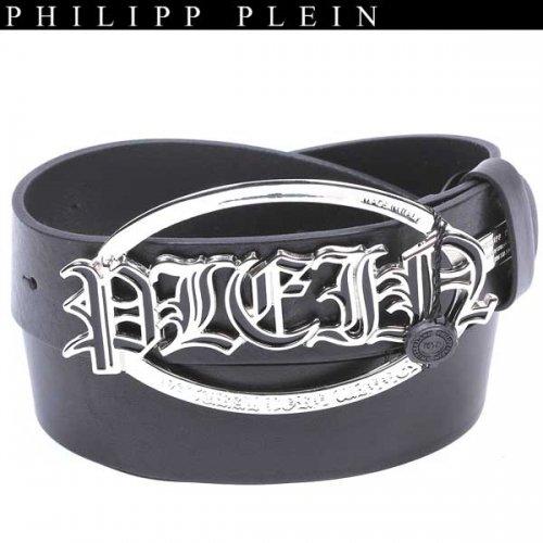 【送料無料】 フィリッププレイン(PHILIPP PLEIN) メンズ ロゴバックル ベルト AM710007 0202 BK/BK 13A