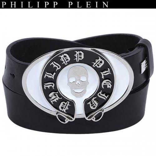 【送料無料】 フィリッププレイン(PHILIPP PLEIN) メンズ スカル バックル ベルト AM710006 0201 BK/WH 13A