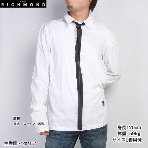 【送料無料】 【サイズL】ジョンリッチモンド(JOHN RICHMOND) メンズ ポロシャツ 長袖 デザインシャツ ZHIB 3207 2329 0001 ホワイト 白