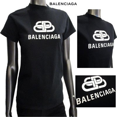 <img class='new_mark_img1' src='//img.shop-pro.jp/img/new/icons11.gif' style='border:none;display:inline;margin:0px;padding:0px;width:auto;' /> バレンシアガ(BALENCIAGA) レディース フロントBBロゴ・BALENCIAGAロゴカットソー BBロゴ 黒 583245 TEV48 1000 91A