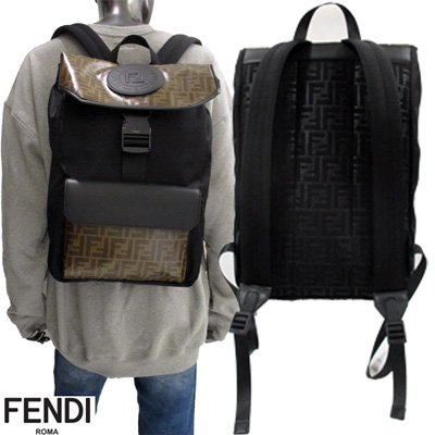 <img class='new_mark_img1' src='https://img.shop-pro.jp/img/new/icons15.gif' style='border:none;display:inline;margin:0px;padding:0px;width:auto;' /> フェンディ FENDI  FFズッカ柄・スタンプロゴ入りリュック ユニセックス  黒 茶色 7VZ045 A6KK F17PY 91A