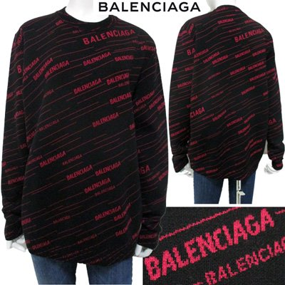 <img class='new_mark_img1' src='//img.shop-pro.jp/img/new/icons15.gif' style='border:none;display:inline;margin:0px;padding:0px;width:auto;' /> バレンシアガ BALENCIAGA ダイアゴナルピンクロゴジャカードニット ユニセックス  黒 ピンク 583094 T1524 1092 91A